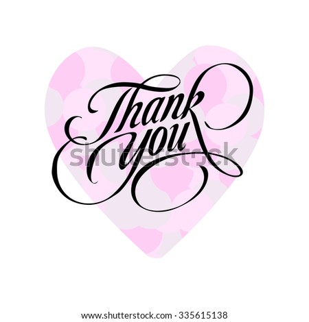 Thank you. Hand-drawn lettering in black color with pink heart. illustration on white background.  - stock vector