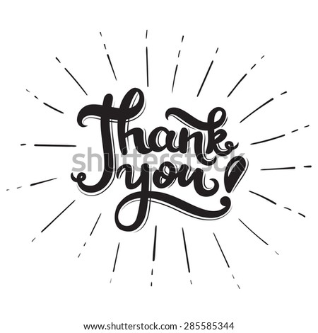 Thank you! Hand drawn lettering poster. Vector calligraphy. - stock vector