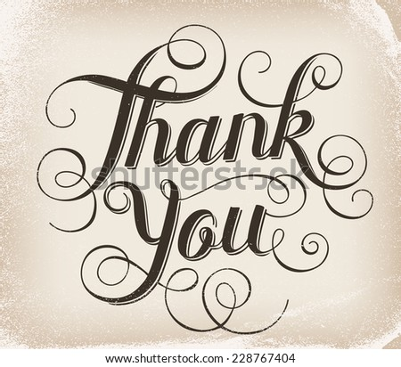 Thank you. Hand lettering - stock vector