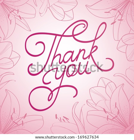 Thank You hand lettering card - stock vector