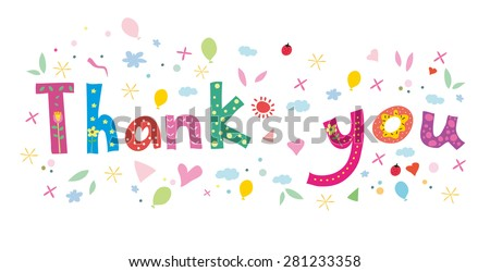 Thank You Hand lettering Greeting Card. Typographical Vector Background.  - stock vector