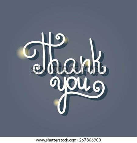Thank You hand lettering, handmade calligraphy - stock vector
