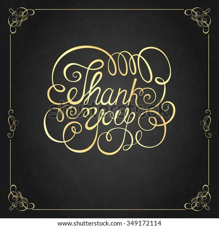THANK YOU Hand lettering. Handmade calligraphy - stock vector