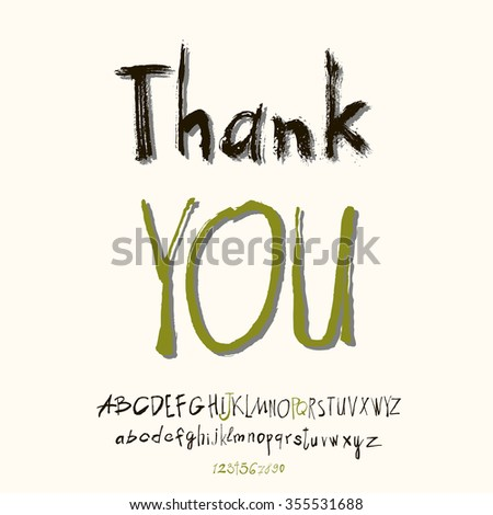 Thank you hand lettering, handmade calligraphy, vector  - stock vector