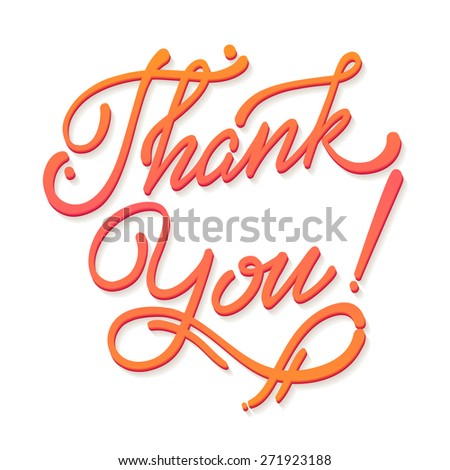 Thank You Hand lettering handmade vector soft calligraphy - stock vector