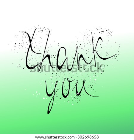 Thank You hand lettering. Vector inscription with dots elements editable. - stock vector