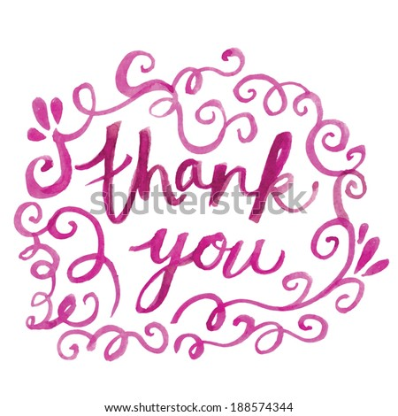 Thank You Hand Painted Text. Thank You Note With Swirls. Hand Painted Flourishes and Swirls. Vector Thank You.  - stock vector