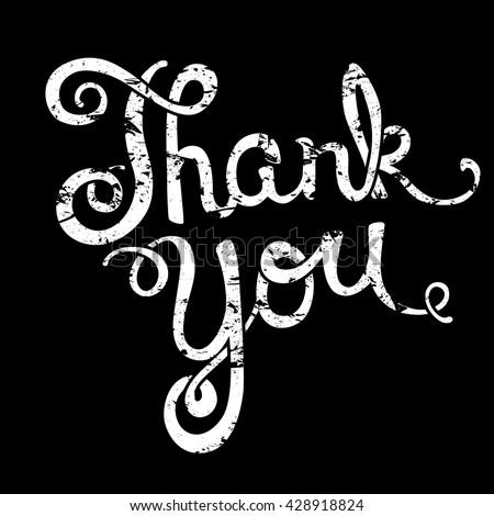 Thank you handwritten, brush pen lettering over black background, vector illustration - stock vector