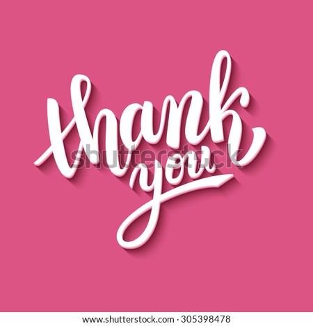 Thank you handwritten vector illustration, brush pen lettering on pink background - stock vector