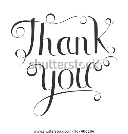 Thank you handwritten vector illustration, dark lettering isolated on white background - stock vector