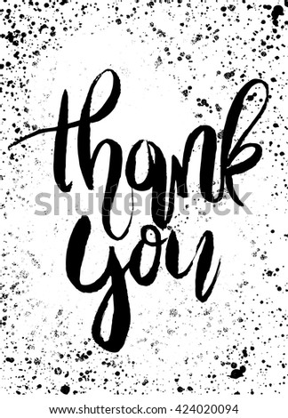 Thank you handwritten vector illustration, Hand painted brush lettering,Typographic poster.vector illustration - stock vector