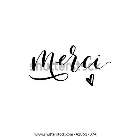 Thank you in french language. Merci card. Hand drawn lettering background. Ink illustration. Modern brush calligraphy. Isolated on white background.  - stock vector