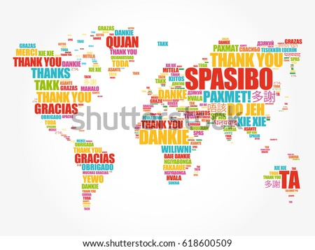 Thank you many languages world map stock vector hd royalty free thank you in many languages world map in typography word cloud multilingual for education or gumiabroncs Images