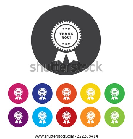 thank you label - stock vector