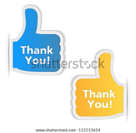 Thank You Labels, vector eps10 illustration - stock vector