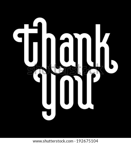 THANK YOU lettering -- custom typography, vector (eps8) - stock vector
