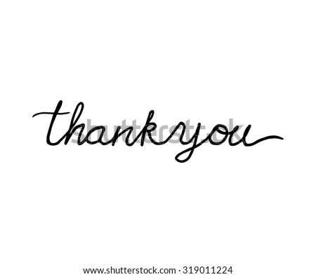 Thank you lettering. Hand drawn - stock vector