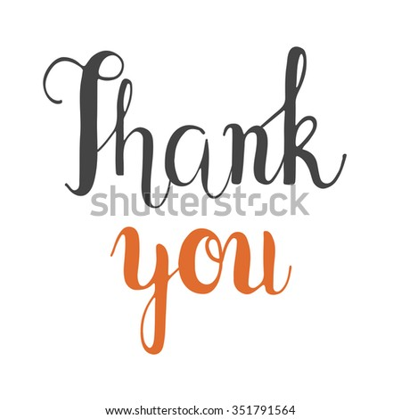 Thank you lettering. Hand-drawn font fot greeting cards. Vector calligraphy. Thanksgiving - stock vector