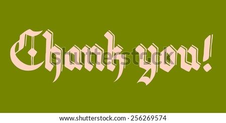 thank you lettering illustration vector, in vintage font; pink text on green background - stock vector