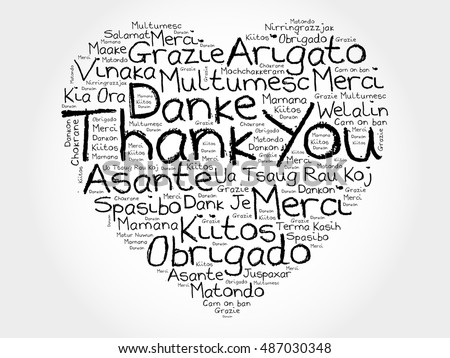 Thank you in different languages stock images royalty free images thank you love heart word cloud in different languages concept background stopboris Image collections
