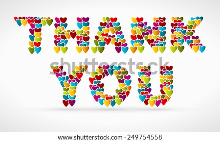 Thank you made from colorful icon hearts - stock vector