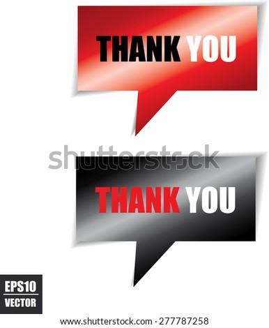 Thank you Modern Design Red And Black Speech bubbles.Vector - stock vector