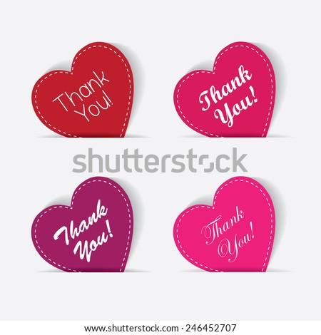 thank you note - hearts set collection in red, pink and purple color with handwritten calligraphic thank you message