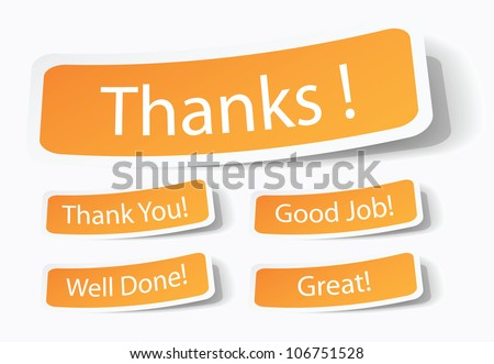 thank you or thanks note or sticker, customer feedback or service - stock vector