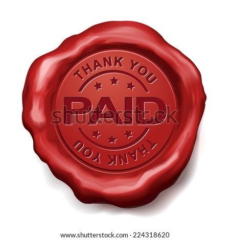 thank you paid red wax seal over white background - stock vector
