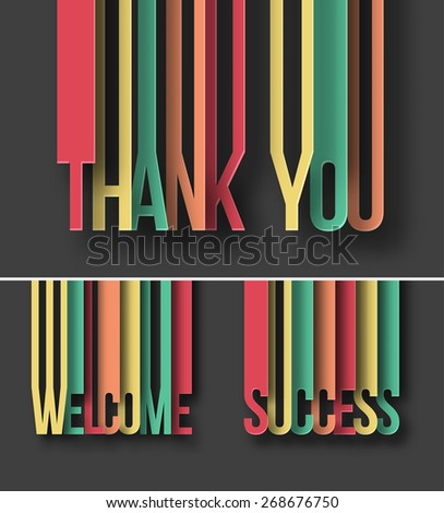 Thank you paper cut text on abstract background with drop shadows.  - stock vector