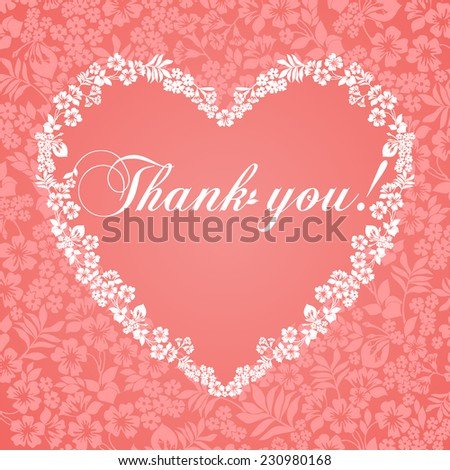 Thank you postcard, Ornament of flowers . Rose  and white color. Vector Version  - stock vector