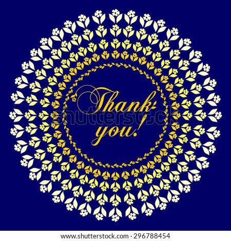 Thank you postcard, Ornament of flowers .  Vector Version  - stock vector