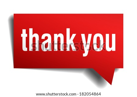 Thank you red 3d realistic paper speech bubble isolated on white - stock vector