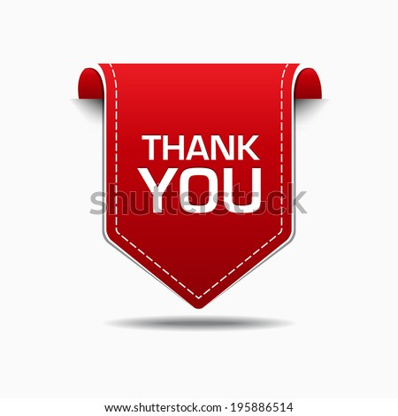 Thank You Red Label Icon Vector Design - stock vector