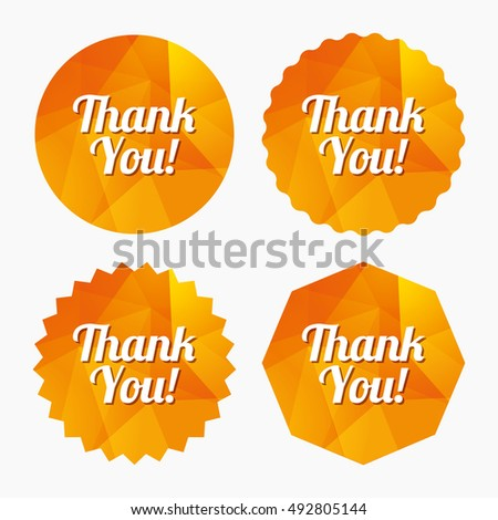 Thank you sign icon. Customer service symbol. Triangular low poly buttons with flat icon. Vector