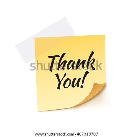 Thank You Stick Note Vector Illustration
