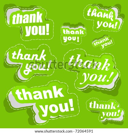 Thank you. Sticker collection. Vector illustration. - stock vector