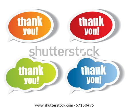 Thank you stickers and bubbles - stock vector