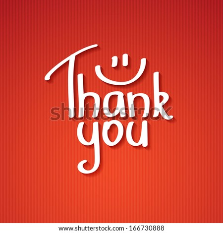 Thank You text paper sticker, vector illustration - stock vector