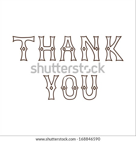 Thank you text. Sketch vector illustration - stock vector