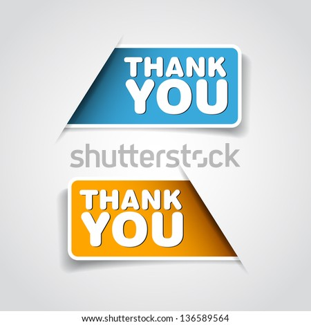 Thank you - Two grateful label - Vector - stock vector