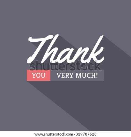 Thank You typographic card design in modern trendy style with long shadow on dark background - stock vector