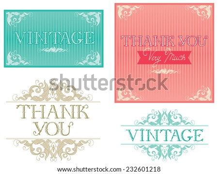"""Thank You Typographic Design. Vector banners with inscription """"Thank You """" at retro style - stock vector"""