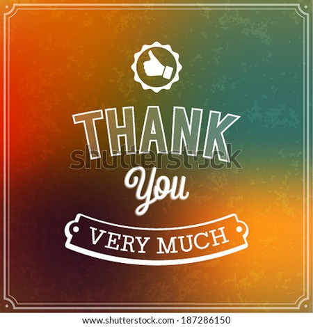 Thank you typographic design. Vector illustration. - stock vector