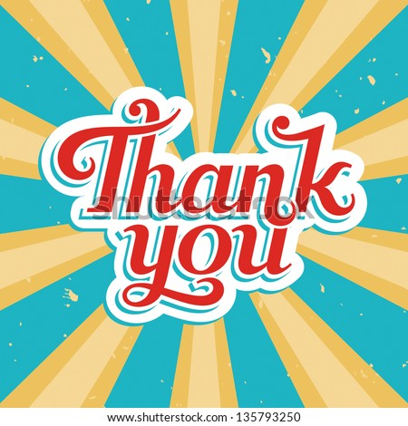 Thank You, vector illustration in old style - stock vector