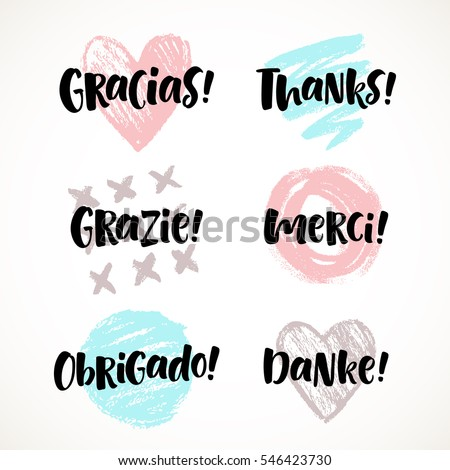 Thank you in different languages stock images royalty free images thank you vector lettering in different languages english french german spanish stopboris Image collections