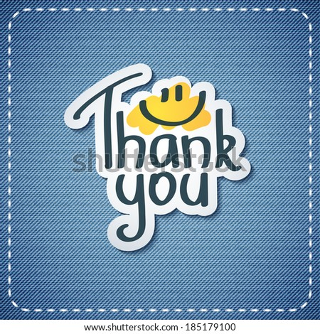 thank you, vector text on denim texture - stock vector