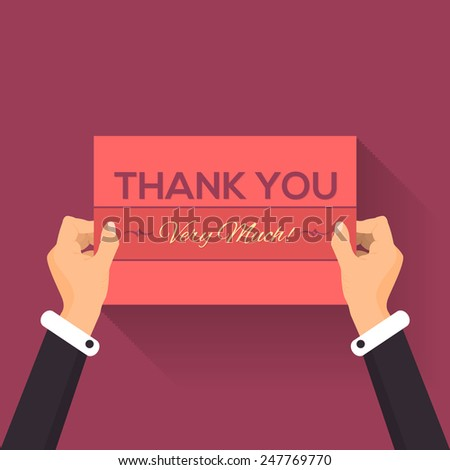 Thank You Very Much Lettering Card Hold Hands Vector Design - stock vector