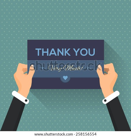 Thank You Very Much Lettering Design, Card Hold Hands Flat Template - stock vector