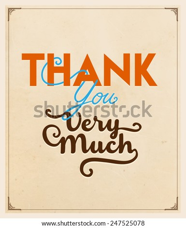 Thank You Very Much Type Design - stock vector